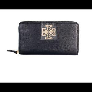 Tory Burch Black Britten Zip Continental Wallet